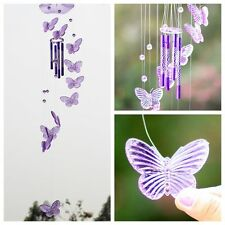 Purple Crystal Butterfly Wind Chime Bell Ornament Yard Living Hanging Decor