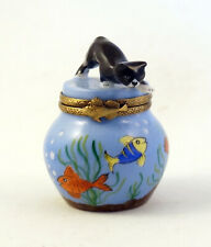 New French Limoges Trinket Box Cute Black Cat Trying To Catch Fish In Aquarium