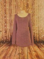 J JILL Women's Pink lavander Metallic Knit Scoop Neck Long Sleeve Sweater Size M