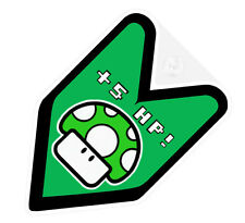 ## JDM WAKABA BADGE FUNNY +5 HP HORSEPOWER Car Decal Flag not vinyl sticker ##
