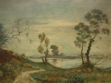"AQUARELLE "" LEVER DE LUNE "" SIGNEE LOUIS MERLIN 1923 D'APRES HENRI HARPIGNIES"