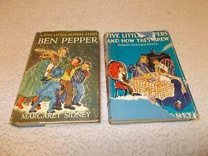 2 Margaret Sidney Ben Pepper & Five Little Peppers & How They Grew HC/DJ