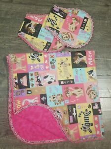 Handmade Small Flannel recieving blanket and burp rags cute cat design NEW