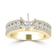1.09 ct Ladies Three Row Round Cut Diamond Semi Mounting Ring in 14 kt Yellow