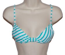 Roxy bikini top swimsuit size M blue white striped bandeau nwt new
