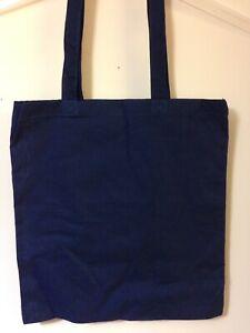 Navy Cotton Tote Bag Reusable Bag For Life Shopping Beach Holiday Longer Handle