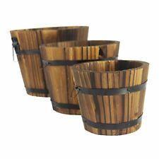 Set of 3 Nesting Burnt Wood Planters - Wooden Garden Decoration Rustic Effect