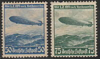 Stamp Germany Mi 606-7 Sc C57-8 1936 Reich Airship Hindenburg Zeppelin MH