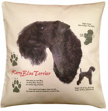 More details for kerry blue terrier history cotton cushion cover - cream or white - gift item