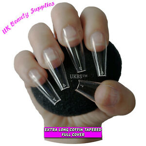 600x Extra Long Coffin T Shape False Nails CLEAR Glue On Full Cover Tips - UK