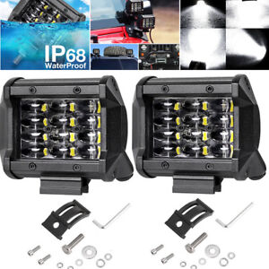 4 inch 36W 12 LED Bar Flood Work Light Off-road Running Fog Lamp Car Boat 2PCS