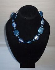 Vintage Chunky Semi Chrome Bakelite Blue Swirl Plastic Fashion Necklace - FN0199