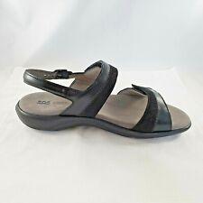 SAS Women's Casual Comfort Shoes Sandals Black Gray Leather Sz 10 WW Hook Loop