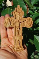 4.5 INCHES Pectoral Cross Orthodox crucifix Wood Carved Religious christian gift