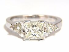 1.63ct Natural Princess cut diamond ring 14kt. Trilliants+