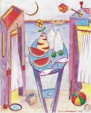 """Dimitris C. Milionis """"AEGEAN LIFE"""" Pencil Drawing Transparent Paper 2003 Greek"""
