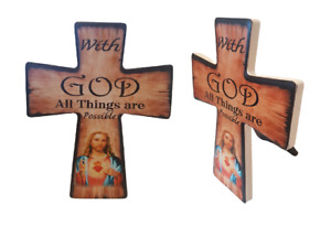 With God All Things are Possible Jesus Crucifix Cross hanging Freestanding Pic