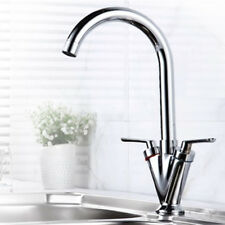 Dual Lever Monobloc Faucet Modern Kitchen Sink Mixer Taps Swivel Spout Basin Tap