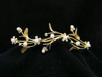 Gold Bridal Rhinestone Crystal Pearl Flower Wedding Tiara Hair Comb 5261