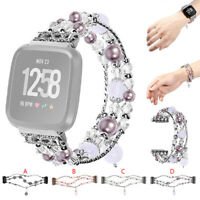 Luxury Crystal Beads Round Beads Watch Band Wrist Strap For Fitbit Versa Lite UK