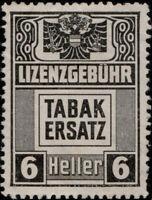 AUTRICHE / AUSTRIA / ÖSTERREICH 6 heller Tabakersatz LIZENZGEBUHR Revenue Stamp
