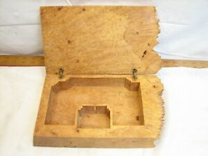 Vintage Hand Carved Cypress Wood Burl Jewelry Box Blonde Ornate Trinket Dresser