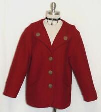 "RED BOILED WOOL JACKET Coat Women German THICK & WARM LINED Walk 40 14 L B45"""