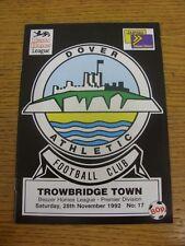 28/11/1992 dover Athletic V TROWBRIDGE Town. condizione: aspiriamo a ispezionare una