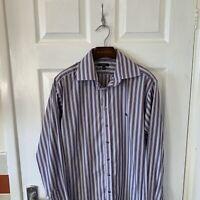 Mens BURBERRY LONDON Long Sleeve Stripe Shirt Formal Purple Large L