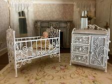 Vintage Miniature Dollhouse Artisan White Enamel Ornate Crib & Changing Table