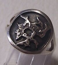 UNUSUAL ABSTRACT SILVER MALCOLM GRAY RING