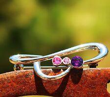Silver tone ribbon purple pink rhinestones  BROOCH