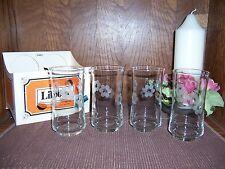 Set / 4 New Libbey Bolero Style Etched 12 oz. Beverage Glasses-Dated 1/2 of 1979