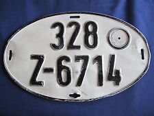 Germany Vintage License Plate 328 Z-6714 Black on White E5536