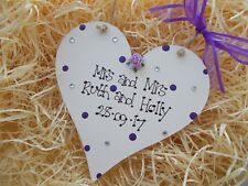 Civil Partnership Mrs and Mrs Wedding Heart Plaque Gift