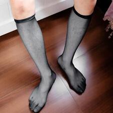 New 1 Pair Left and Right Men's Sexy Knee High Long Dress Nylon Mesh Sheer Socks