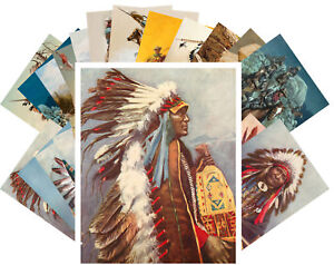 24 Postkarten Set *Indian Chef Native American Life Retro Illustration CC1024