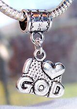 I Heart God Christian Gift Love Dangle Bead for Silver European Charm Bracelets