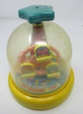 VINTAGE TOMY PUSH'N MERRY-GO-ROUND STAR TOP TEDDY BEAR CAT MOUSE COLORFUL WORKS