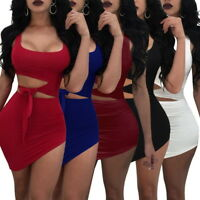 Fashion Women Mini Dress Waist Cut Out Lace Up Bodycon Wrap Club Dresses GB09