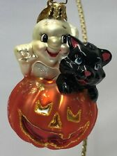 New ListingChristopher Radko Halloween Ornament - Pumpkin with Ghost and Cat On Top