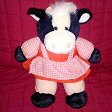 Chosun International COW Black White 13in Plush Fabric Pink Dress Checked Apron