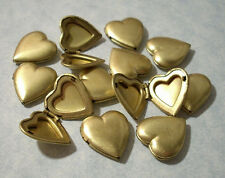 6 pcs Vintage Heart Lockets No Loop 1970's Solid Brass Made In USA