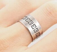 New 8mm Stainless Steel Silver Plated Mens Design Ring Womens Band (Size L to W)