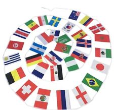 Fahnenkette WM 2018 Flaggenkette 32 Teilnehmer Wimpel-Kette 8,5 Meter Girlande