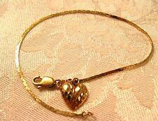 "7"" Bracelet Heart 14K Yellow Rose Gold Flat Link Chain 1.2mm wide"