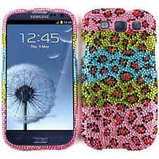 Leopard Diamond Blue Pink Hard Cover Case for Samsung Galaxy S 3 S3 III i747