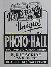 PUBLICITE PHOTO HALL APPAREIL PHOTO RADIO CINEMA PHONO DE 1948 FRENCH AD