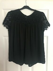 Chiffon and Lace Black Top by Atmosphere, Tie up back, Size 12