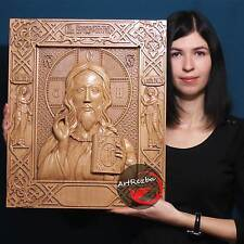 "26"" Jesus Christ God The Lord Almighty Icon 3D Orthodox Wood Carved (20"" x 17"")"